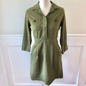 J CREW Ruthie Shirtdress Utility Olive Green 4